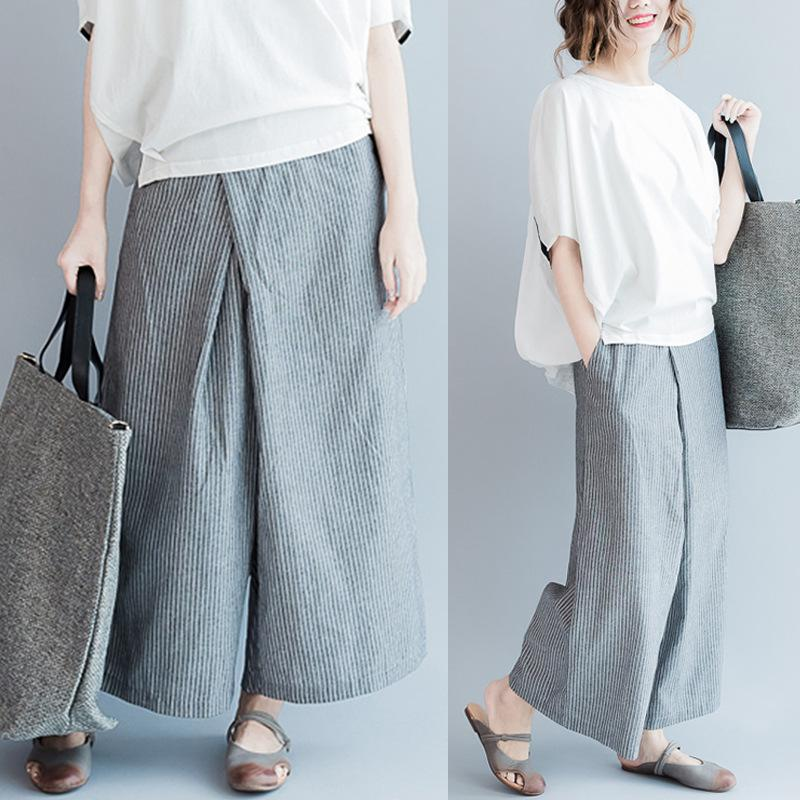 The 2018 Wide Leg Pants New Contracted Large Size Women Vertical Stripes  Bellbottoms Wide Leg Pants UK 2019 From Peisi 4dad9213f