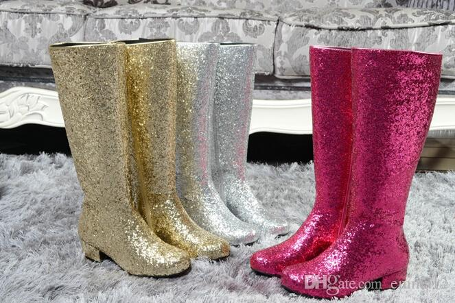 bdc1dbd1fda Fashion Gold Silver Low Heel Knee High Boots Woman Sequined Long Top Rain  Booties Ladies Nightclub