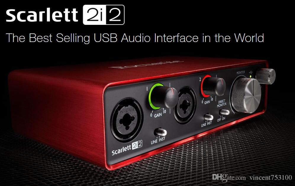 2017 New FOCUSRITE Scarlett 2i2 (2nd gen) 2 in / 2 out USB 2 0 Guitar  recording audio interface USB2 0 sound card free shipping