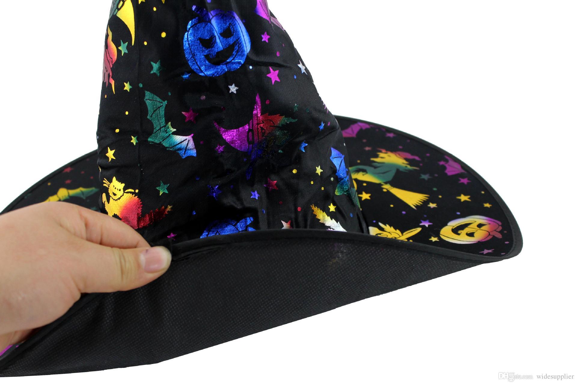 Костюм для костюма Хэллоуин Костюм для макияжа Костюм Великолепная ведьма Шляпа Хана Ведьма Горячая Золотая Шапка для взрослых Противодействие мастера Волшебники Шляпа