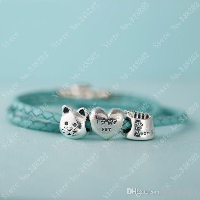 Подходит Pandora Браслеты Cat Bowl Charm Beads Оригинал 925 Sterling Silver Clear Кристалл Fish Bone Мяу Bead Diy Fine Jewelry HB334