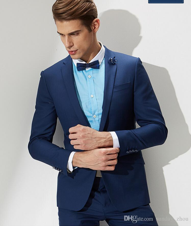 Best Latest Design Mens Suits Blue Fashion Groom Wedding