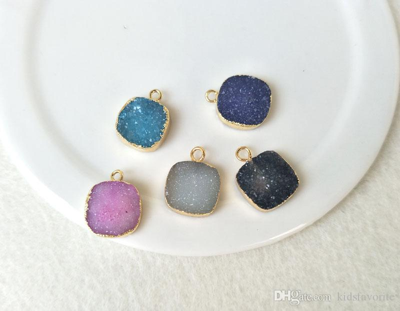 12mm Square Gold Plated Natural Quartz Druzy Pendant Bead,Agate Geode Drusy Charm Jewelry necklace bracelet Making PD468