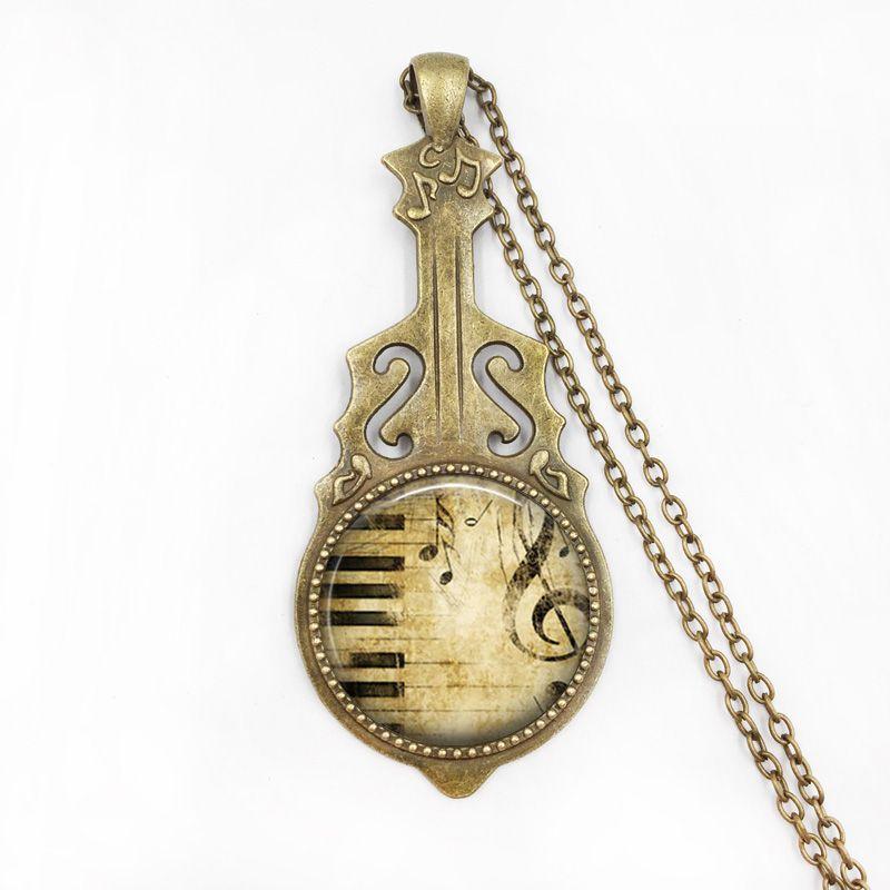 Gargantilha Colar Bronze Banhado A Piano e Música Nota Padrão Colar de Pingente para Mulheres Meninas Camisola Cadeia