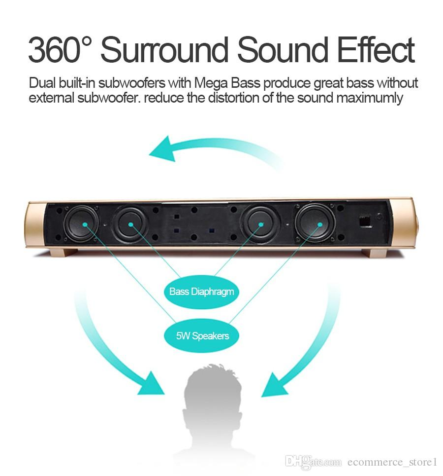 10W LP08 Bluetooth Wireless Lautsprecher Soundbars Freisprecheinrichtung HIFI Box Subwoofer Boombox Stereo Tragbare Soundbar für TV PC Laptop