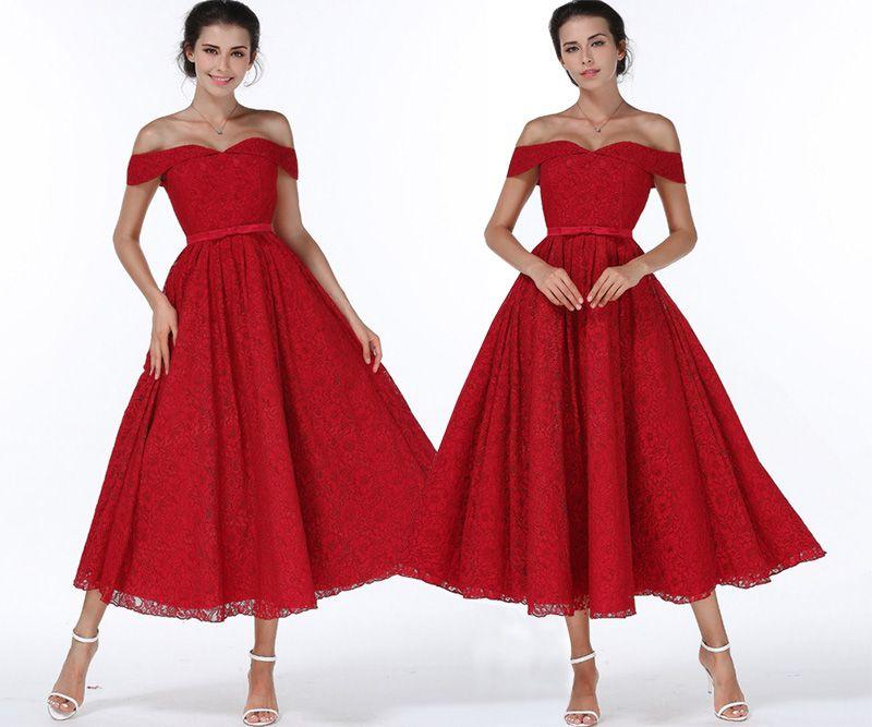 Neue Mode Frauen Sexy Schulterfrei Spitze Kleid Weinrot Formale Kleider  Backless Vestidos Langes Kleid Party Abendkleider Ballkleid 432b971174