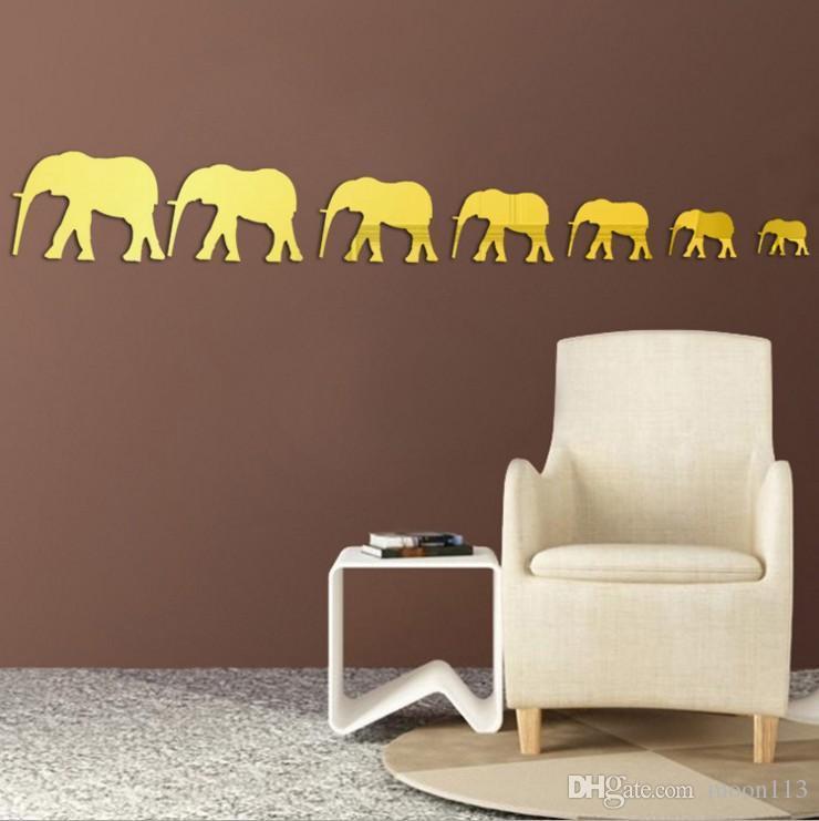 creative new fashion 3d acrylic stickers 7 elephants mirror wall