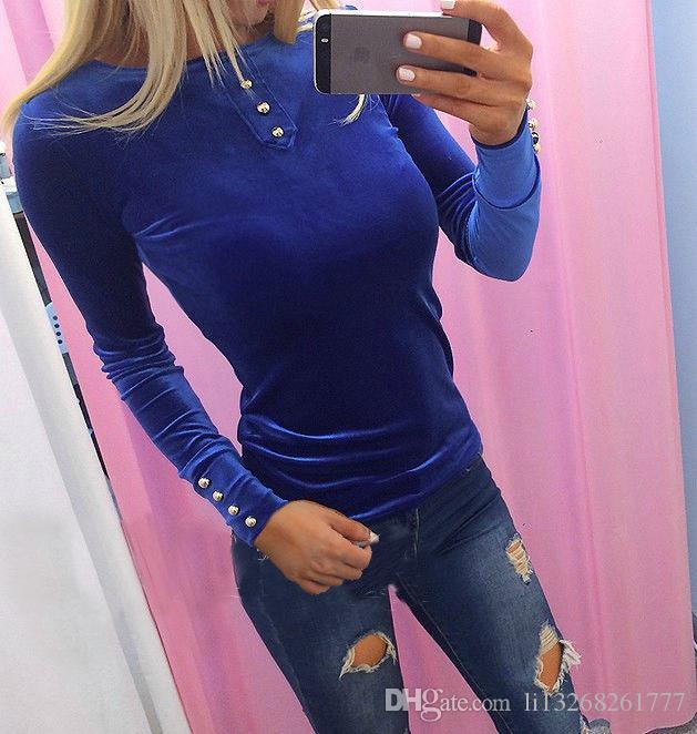 Mädchen-Frühlings-Winter-elastisches dünnes SamtHoodie-Sweatshirt-Frauen-lange Hülsen-Niet-Pullover-blaue rote rosa grüne Kapuzenpullis
