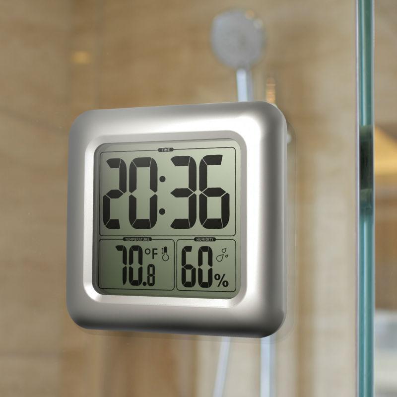 Freeshipping Wasserdichte Dusche Uhren Uhr Temperatur Luftfeuchtigkeit Timer Schreibtisch Badezimmer Küchentisch Thermometer Digitale Große Wanduhr