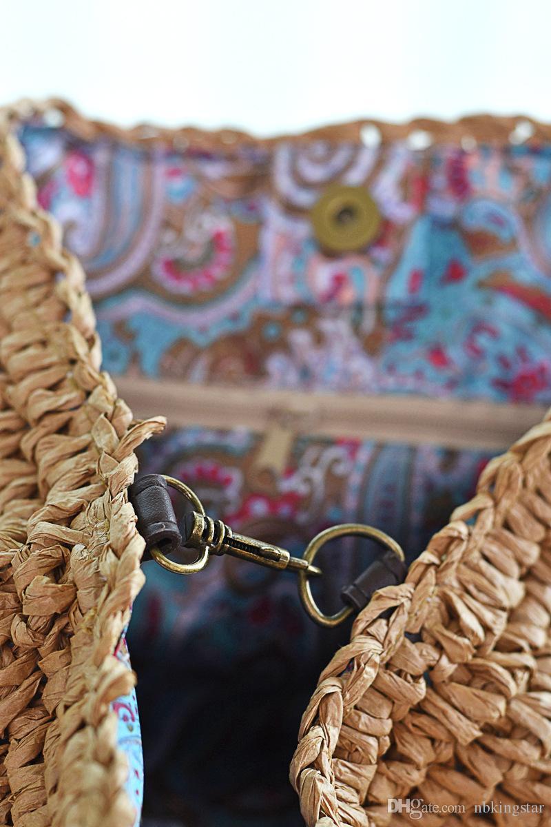 2017 Summer Paille Weave Sacs À Main Crochet Doux Casual Fourre-Tout Femmes De Mode Épaule Solide Plage Linge Tissé Seau Sac