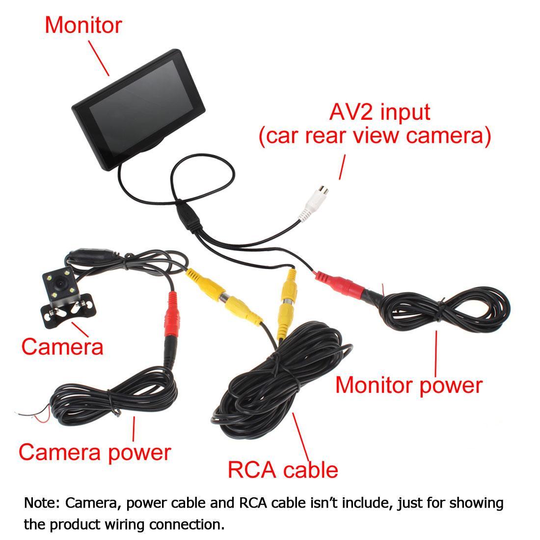 4.3 pulgadas de color TFT LCD Aparcamiento del coche Monitor de vista trasera Monitor de respaldo del coche 2 Entrada de video para cámara de reversa DVD CMO_323