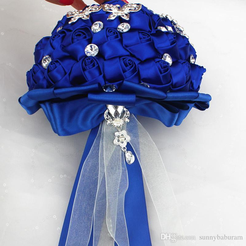 Royal Wedding Bridal Bouquets Sweet 15 Quinceanera Bouquets Pearls Crystal Rhinestone Wedding Supplies Bride Holding Brooch W290-B