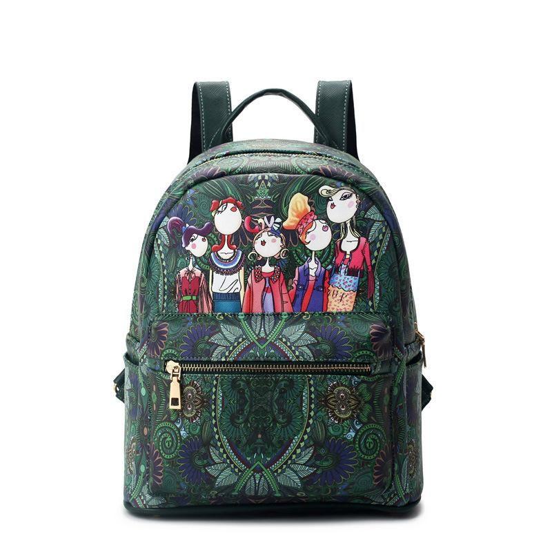 New Retro Bag Fashion Backpacks Shoulder Cross Green Printing Women ... 91b5f1449b54c