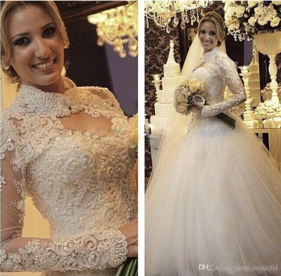 Spring Muslim 2016 Wedding Dresses Lace Princess Ball Gown Bridal Gowns With Sweetheart Neck Long Sleeves Zip Back Jacket Free Luxury