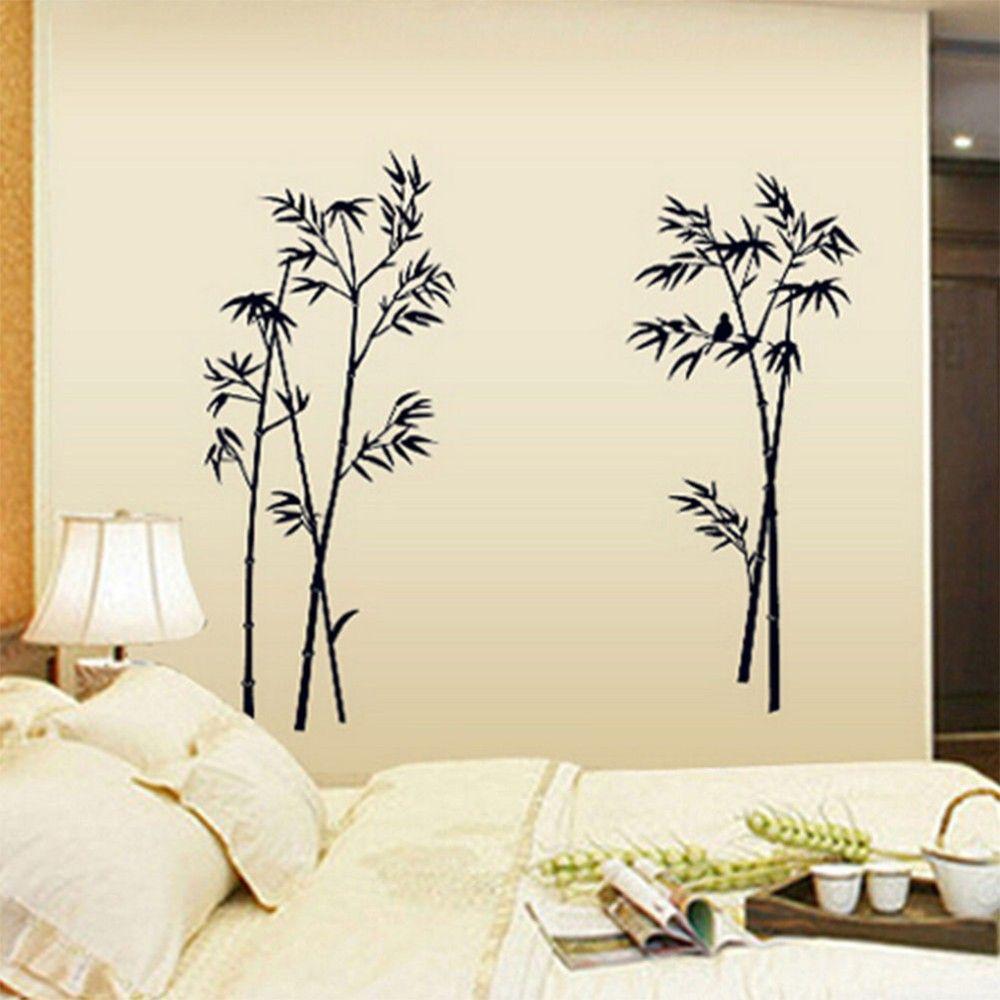 90 * 60 cm Pegatinas de pared de bambú Fondo de bambú pared Pájaro de bambú pared decorativa La sala de estar dormitorio estudio pegatinas decorativas