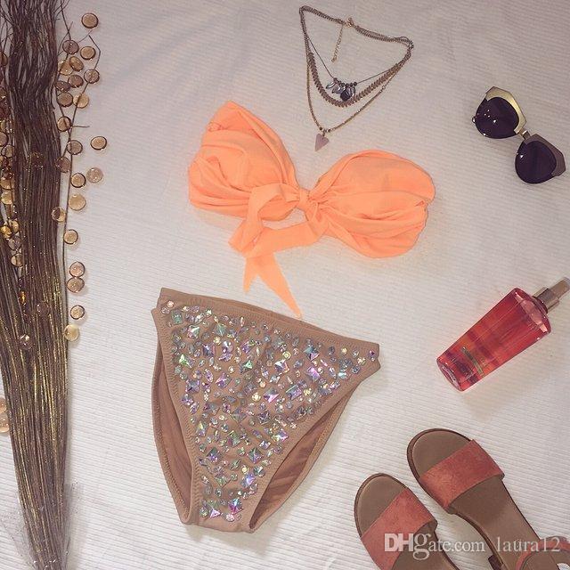 2017 Stunning Crystals Rhinestones Women Triangle Bikini Suits Sweartheart Neck Sleeves High Waist Lady Swimwear Beach Summer New Design