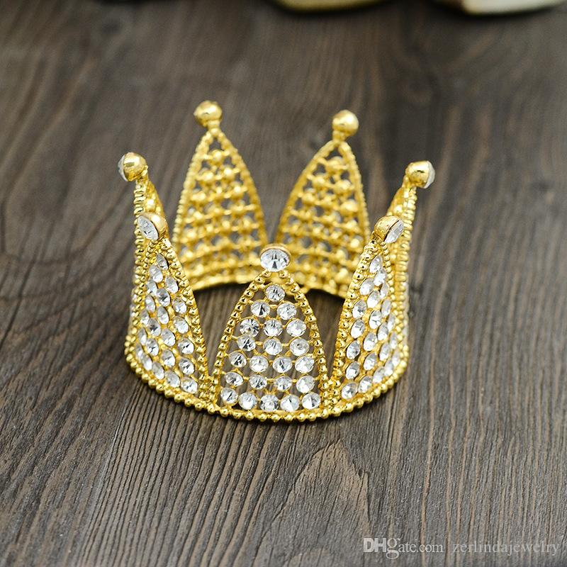 Silver &Gold Plated Birthday Cake Topper Smaller Crown Hair Tiaras For Gift TZ034