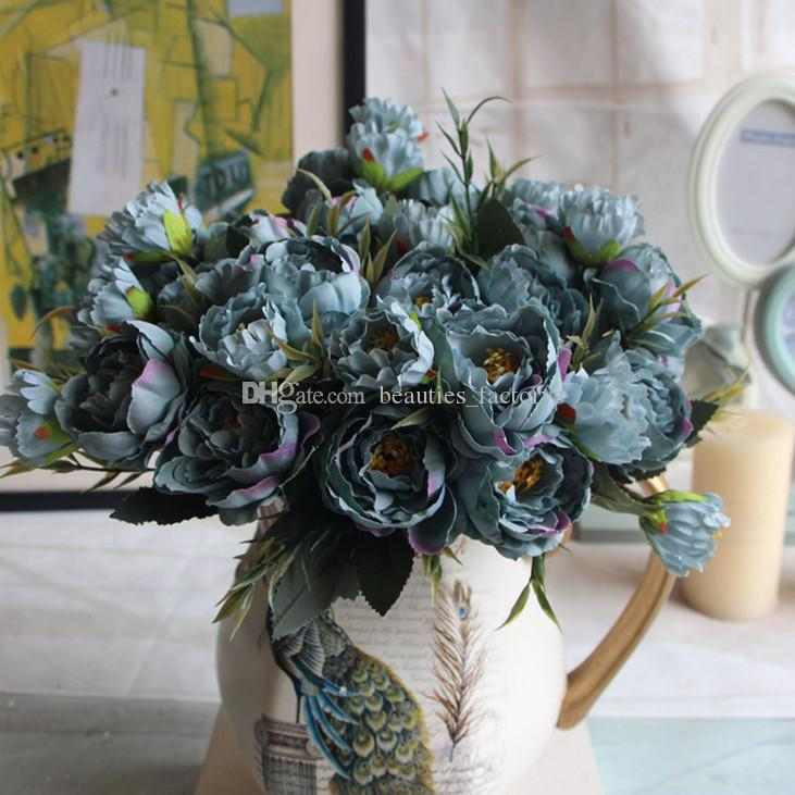 Yapay Ipek Mini Şakayık Çiçek 1 Buket 5 Kafa Sahte Yaprak Ev Partisi Bahçe Düğün Dekor Mavi / Fildişi / pembe / Hotpink