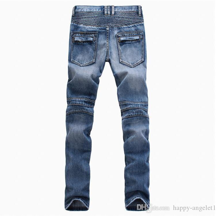 Fashion Men's foreign trade light blue black jeans pants motorcycle biker men washing to do the old fold men Trousers Casual Runway Denim