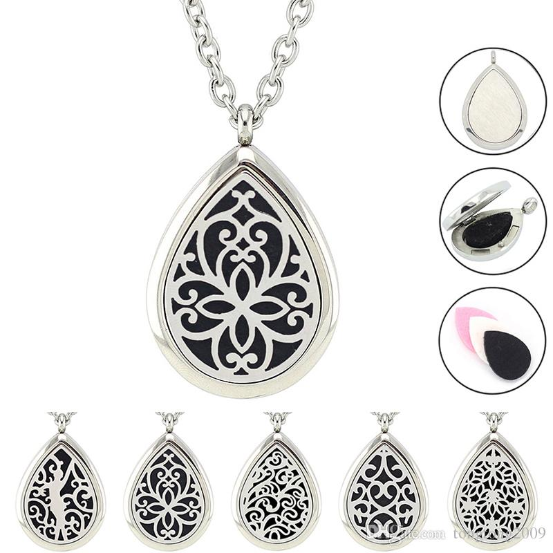 on teardrop pendant inch necklace steel product stainless shipping chain jewelry floral high overstock free lockets over watches wheat locket orders elya open polish