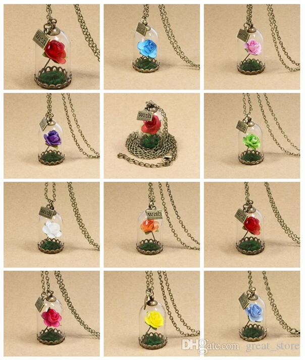 e953871e2e Wholesale Beauty And Beast Necklace Rose Glass Jar Necklace Little Prince  Red Rose Wish Pendant Necklace WFN320 With Chain A Opal Necklace Handmade  Jewelry ...