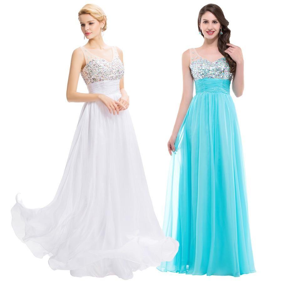 2015 New Arrival Hot Sheer Straps V Neck Crystal Beaded Prom ...