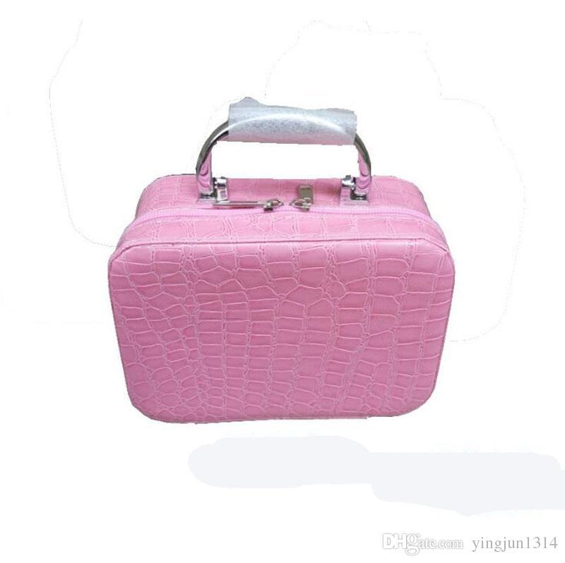 موضة ماكياج صناديق التجميل حقيبة قبول حزمة المجوهرات الحالات قلادة تخزين مربع الكورية مستحضرات التجميل الحقيبة حقيبة السفر قطار الحالات