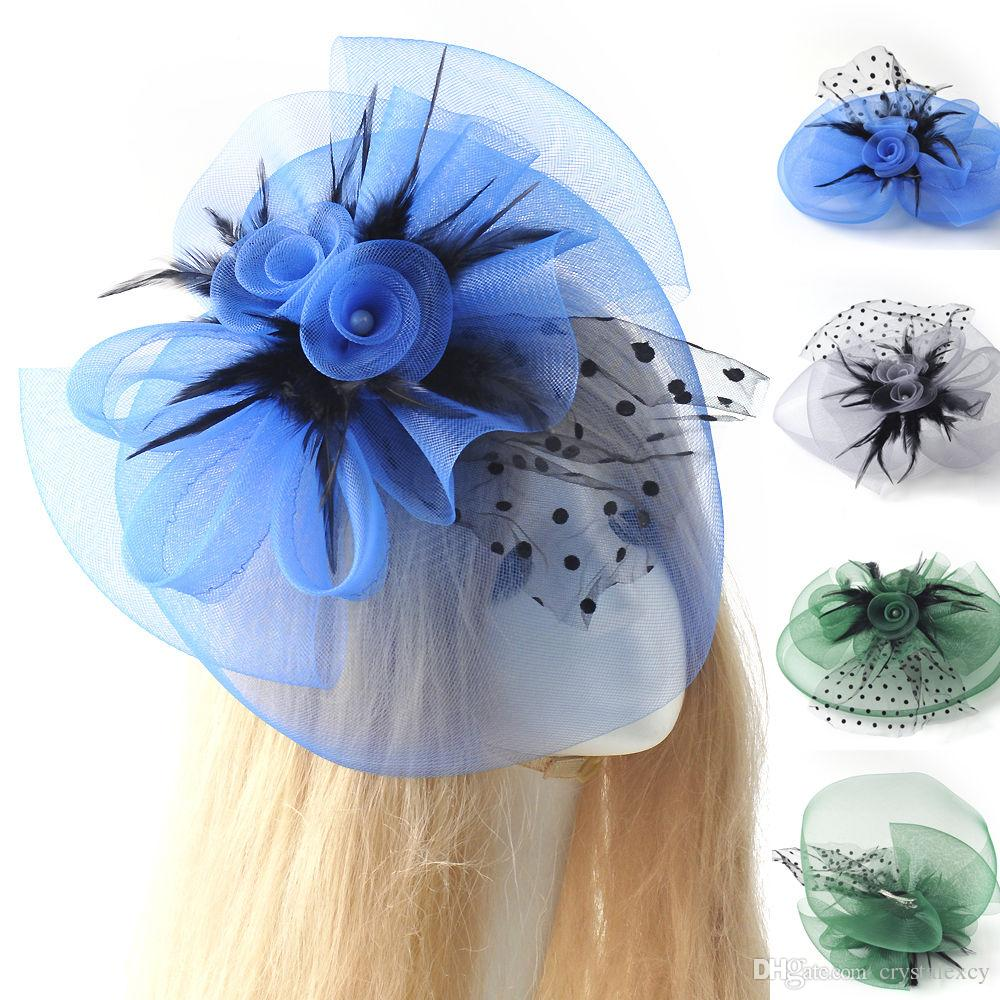 2019 Lady Girl Women Fascinator Wedding Party Veil Feather Hair Clip Hat  Mesh Net Handmade Blue Green Grey Gift From Crystalexcy 01a2be713e4