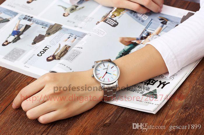 Yeni Varış Moda İzle Hediye Toptan 3 Renkler Kadınlar Erkekler Için Lüks Alaşım Çelik Watchband Kuvars Saatler