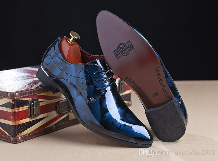 Men Dress Shoes Flower Patent Leather Luxury Fashion Groom Wedding Shoes Men Oxford shoes 37-48 cheap sale limited edition discount clearance get to buy for sale cheap amazon with credit card D2q5qL