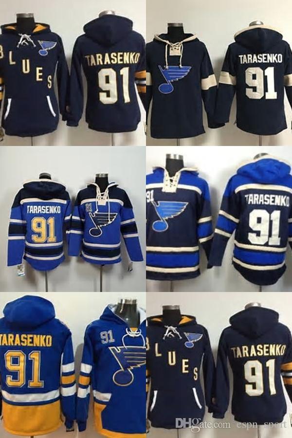 2019 Hot Sale Mens St. Louis Blues 91 Vladimir Tarasenko Navy Black Blue  Yellow Best Quality 100% Embroidery Logo Ice Hockey Hoodies Size S 3XL From  ... ea7879684