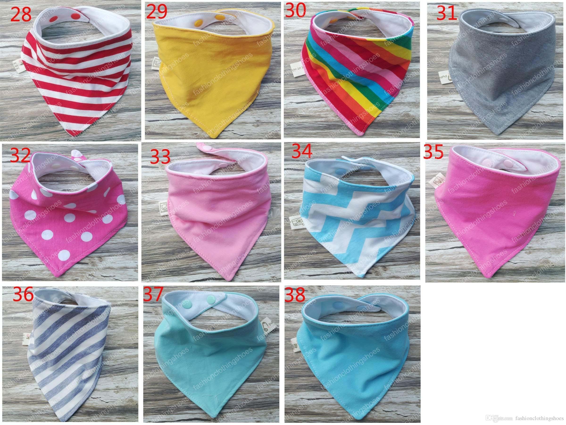 38 renk INS su geçirmez tabaka 2 bebek önlük manuel üçgen havlu pamuk çift üçgen bandaj toka bebek drool havlu çin tarzı ches