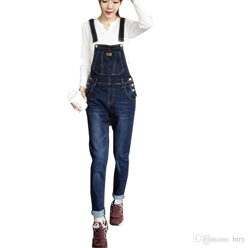 Wholesale-HOT New Fashion women's overalls trousers,Plus sizes women's casual jeans denim suspenders pants jumpsuit