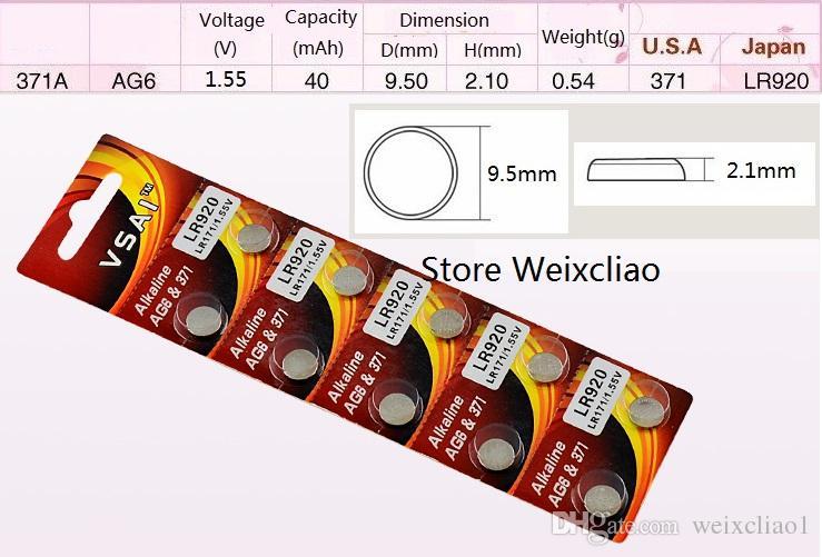 20 قطع 1 وحدة AG6 LR920 171 370 371 371A SR927 L921 LR69 1.55 فولت بطاريات زر خلية البطارية القلوية عملة vsai مجانية