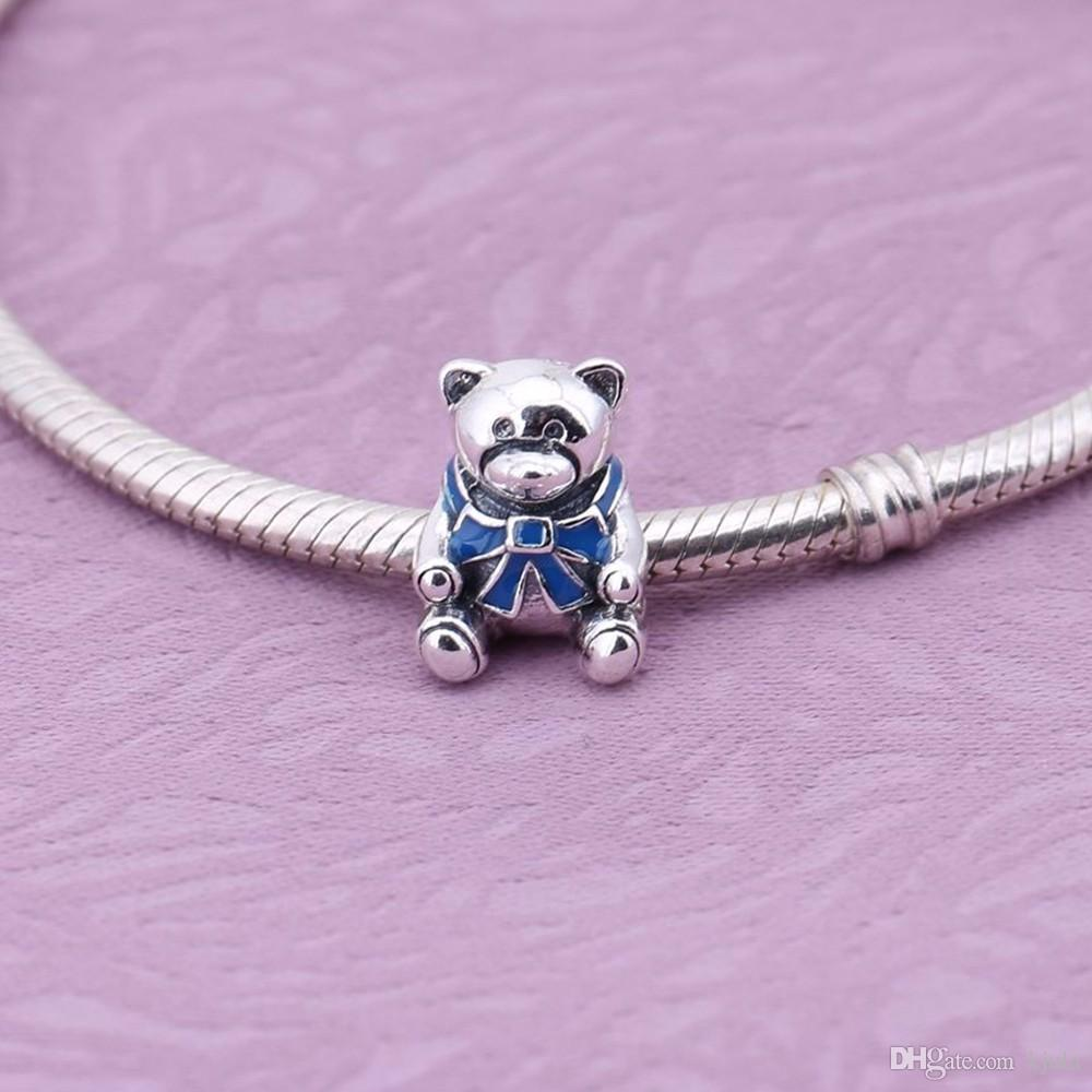 2017 Europe Hot Sale Boy And Girl Bear Charms Bead Fits Snake Bracelet Original 925 Sterling Silver Bear Bead For DIY Jewelry Marking