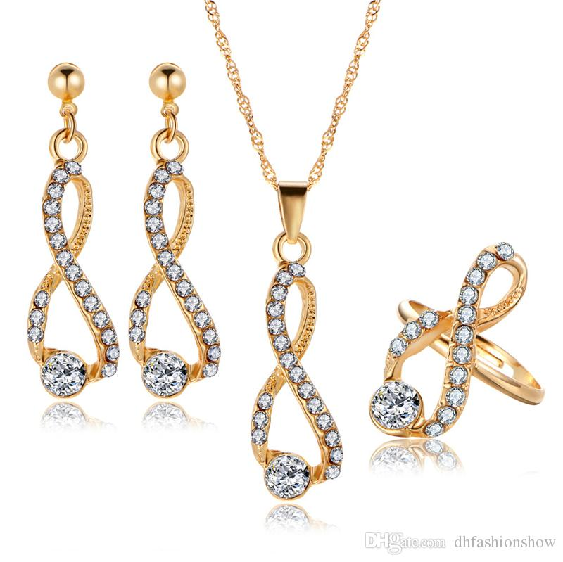 2019 Bridal Jewelry Set Crystal Long Necklace Infinite Earrings Gold