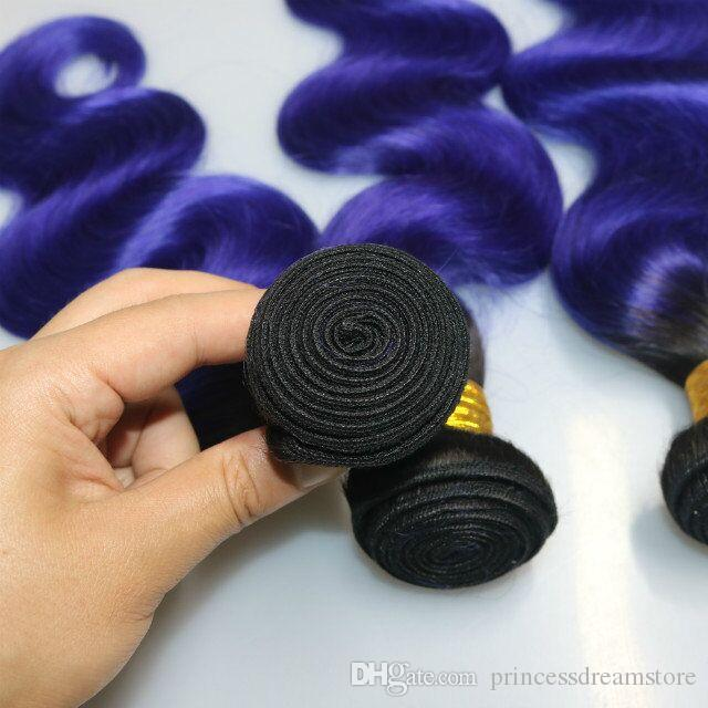 Best quality purple Human Hair Weaves Bundles Unprocessed Brazillian Peruvian Indian Malaysian body waveHair Extensions Natural Black