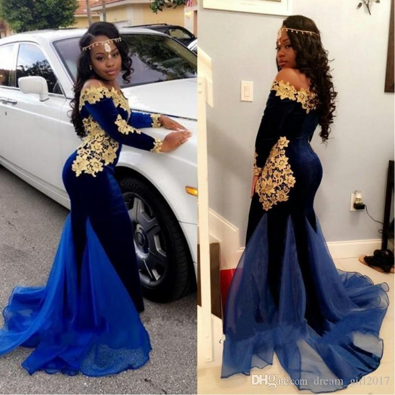 2a25e0fe684 2017 New Nigerian Long Sleeves Prom Dresses Elegant Boat Neckline Floor  Length Mermaid Royal Blue Velvet Evening Gowns With Gold Lace 2K17 Canada  2019 From ...