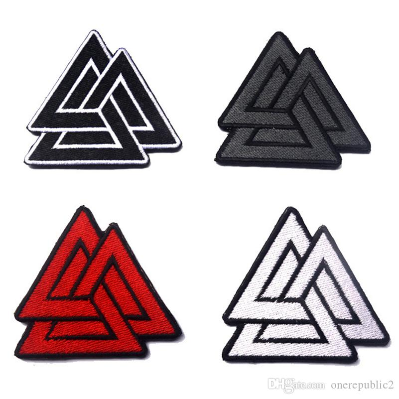 50 PCS Valknut Symbol Viking Norse Rune Tactical Badge Morale Patches Hook & Loop Embroidery Army Badges Wholesale free ship