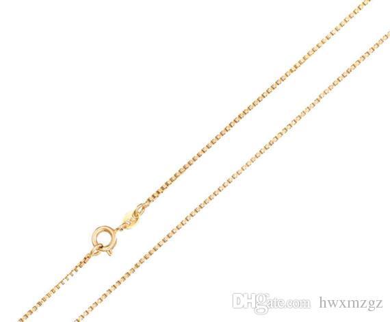 Cadena de collar de caja de oro amarillo de 1MM para mujer, tamaño de cadena de 16