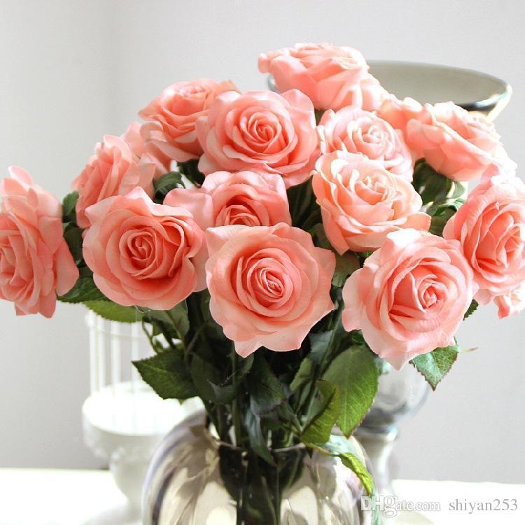 Beyaz renk 10 Kafa Dekor Gül Yapay Çiçekler Ipek Çiçekler Çiçek Lateks Gerçek Dokunmatik Gül Düğün Buket Ev Partisi Tasarım Çiçekler