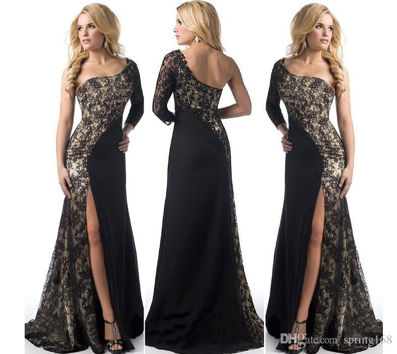 plnk New dress European and American women's long dress lace stitching towing high-end sexy long oblique dress XXXXL
