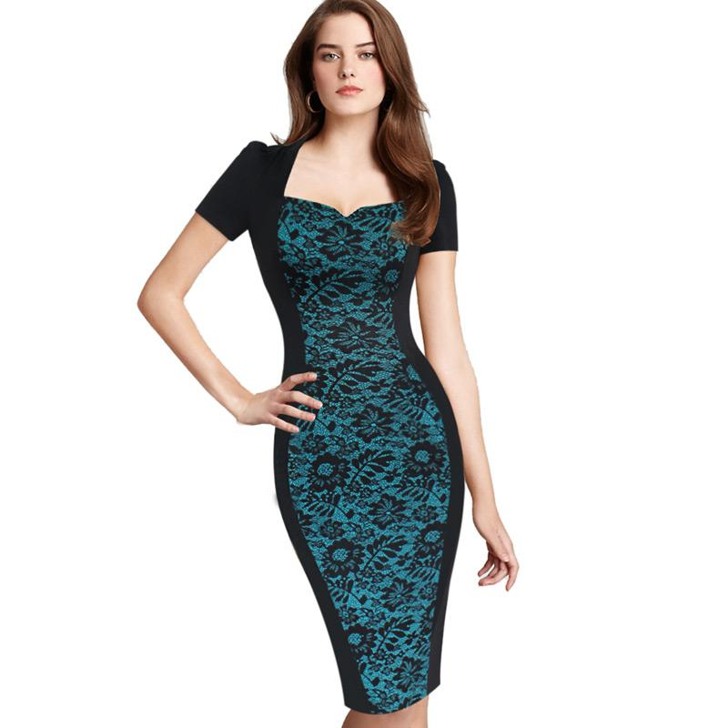 cf8f1d88 2019 New Desi Womens Elegant Floral Flower Print Optical Illusion Square  Neck Slim Work Party Casual Sheath Bodycon Pencil Dress From Weichaoliang,  ...