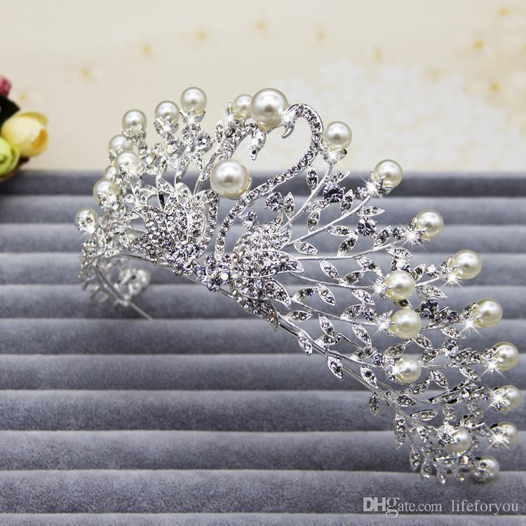 التيجان التيجان أغطية الرأس تاج مطرز لحفل الزفاف أغطية الرأس غطاء الرأس لعروس فستان العروس غطاء الرأس إكسسوارات الزفاف الملحقات