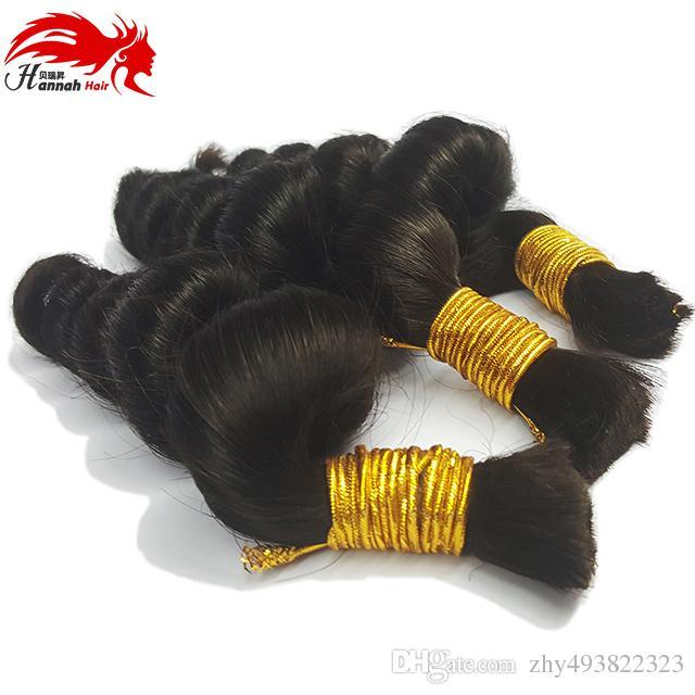 Prämie Keine Befestigung Bulk Hair 3 Bundles 150 Gramm Billig Lose locken Kein Schuss Jungfrau Remy Remy Remy Removal Hair Braiding Wholesale