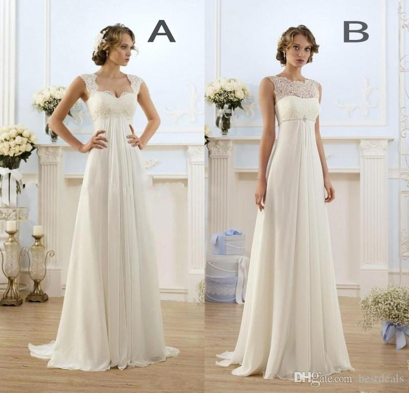 Discount  New Empire Bohemian Wedding Dresses Cheap Maternity Gown Cap Sleeve Keyhole Lace Up Backless Chiffon Summer Beach Pregnant Bridal Gowns Tea