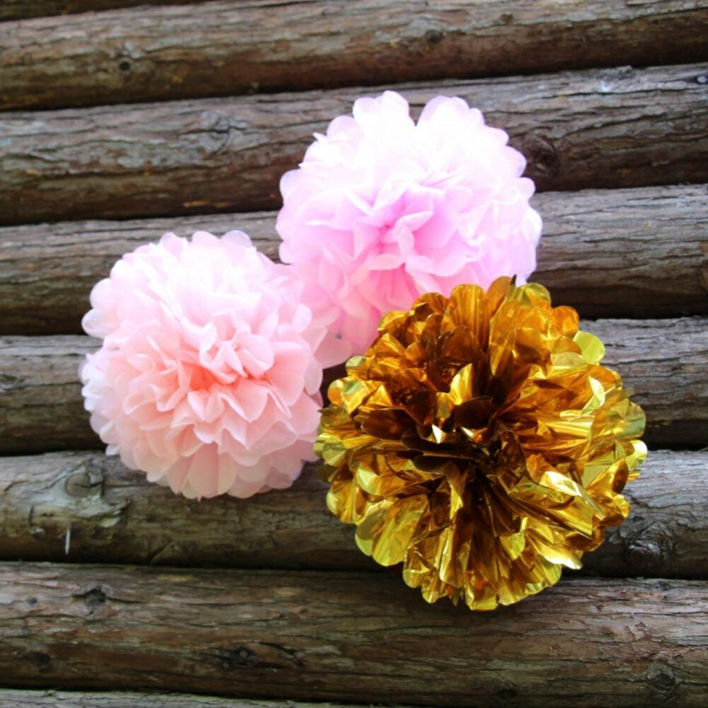 2019 Wholesale 10 Inch Pink Gold Tissue Paper Poms Medium Paper