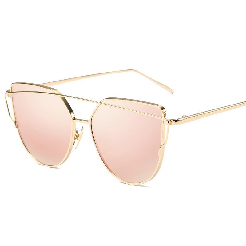 19b2c599a5d96 Compre Moda De Luxo Da Marca Do Vintage Designer De Ouro Rosa Espelho Óculos  De Sol Para As Mulheres Olho De Gato Lente Plana Feminino Óculos De Sol  Oculos ...