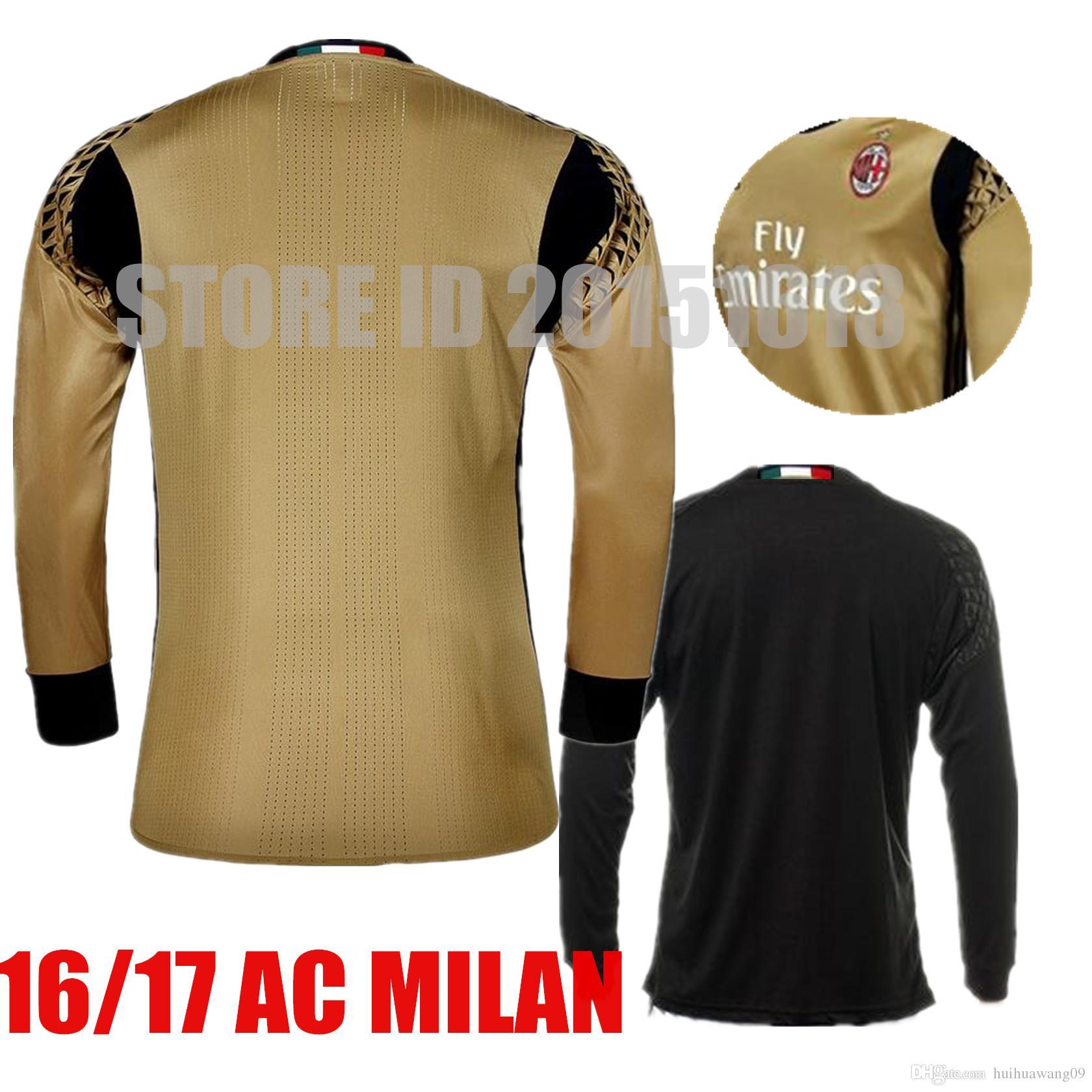 2017 long sleeve ac milan goalkeeper soccer jerseys 99 gianluigi donnarumma gabriel black gold goalie milan norway selnaes home soccer country
