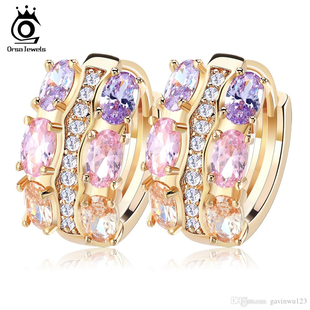 Orsa Jewelry Gold - color Unique Stud Earrings with Multicolor AAA Zircon  Stone Nickel Cadmium free Jewelry OME28